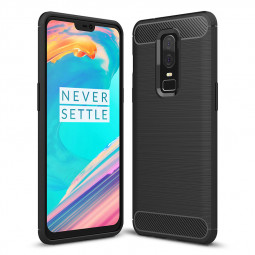 Ultra-thin Carbon Fiber TPU Anti Scratch Shockproof Case Back Cover for OnePlus 6 - Black