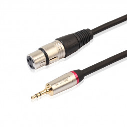 XLR 3 Pin Female to 3.5mm TRS Male Cable Adapter Connector for DV Camera Microphone Mic - 1.8M