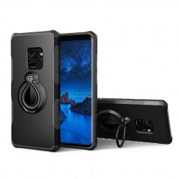 Hybrid Hard Protective Case with 360 Degree Kickstand Phone Case for Samsung S9 - Black