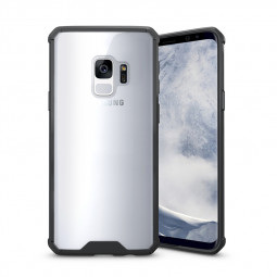 Samsung S9 TPU Bumper Grip Clear Hard Acrylic Phone Case Shell - Black