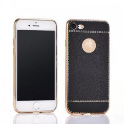 Luxury Litchi Pattern Premium Leather Cover Phone Case for Apple iPhone 7/8 - Black