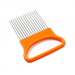 All-In-One Stainless Steel Onion Potato Cutter Holder Slicer Kitchen Tool - Orange