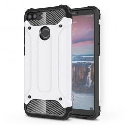 Shockproof Armor Rugged Hybrid PC+TPU Case Back Cover for Huawei Honor 9 Lite - White