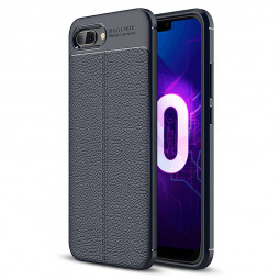 Anti-slip Litchi Grain Texture Soft TPU Rubber Shockproof Case Back Cover for Huawei Honor 10 - Navy Blue