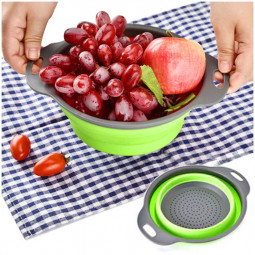Large Size Folding Collapsible Kitchen Colanders Vegetables Fruits Drain Basket Organizer - Green