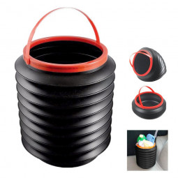 Multifunction Folding Bucket 4L Retractable Portable Magic Container Car Trash Bin Barrel Fishing Box - Black