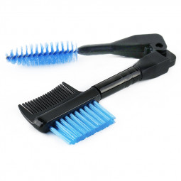 Folded Double Sided Eyebrow Brush Eyelash Comb Mascara Separator Makeup Tools - Blue