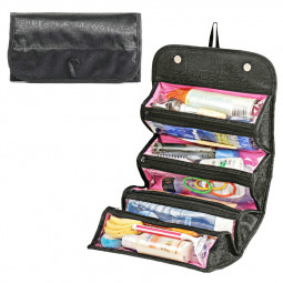 Large Capacity Rolls Up Toiletry Jewelry Bag Multifunctional Travel Storage Bag Makeup Organizer - Black