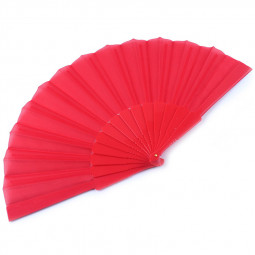 Handheld Bamboo Fabric Hand Folding Fan for Outdoor Dancing Bridals Wedding - Red