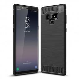 Shockproof TPU Carbon Fiber Tough Brushed Case Back Cover for Samsung Note 9 - Black