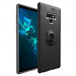 Metal Magnetic Car Mount Ring Stand PC+TPU Case Back Cover for Samsung Note 9 - Gun Ring+Black Case
