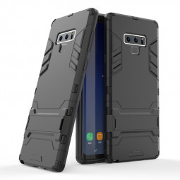 Slim Hybrid TPU+PC Iron Man Armor Kickstand Case Back Cover for Samsung Note 9 - Black