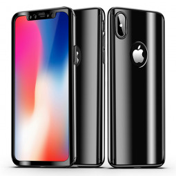iPhone X/XS 360 Degree Full Body Slim Luxury Protection Case Cover - Black