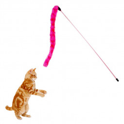 Funny Pet Cat Teaser Kitten Wire Play Catcher Toy Plush Pompon Rods Rod Training Toys - Rose Red
