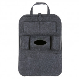 Car Back Seat Organizer Holder Universal Multi-Pocket Felt Cloth Backseat Storage Bag - Dark Grey