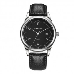 Fashion SMEETO Men Synthetic Leather Band Watches Sport Analog Quartz Wrist Watch - Black