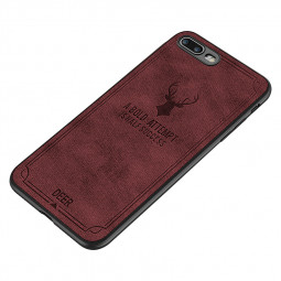 Slim Vintage Deer Painted Canvas Texture TPU Shockproof Case Back Cover for iPhone 7/8 Plus - Dark Red
