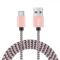 2M High Quality Braided USB 3.1 Type C Charging Cable Cord Data Line - Rose Golden