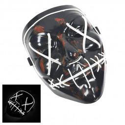 Light Up Purge Mask Led Scary Halloween Cosplay Masks - White