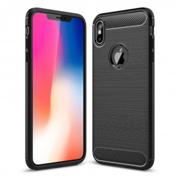 Carbon Fiber Shockproof Flexible TPU Rubber Case Back Cover for iPhone XS Max - Black