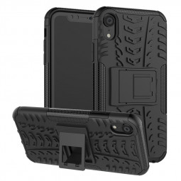 Hybrid PC+TPU Rugged Armor Kickstand Case Heavy Duty Shockproof Back Cover for iPhone XR - Black