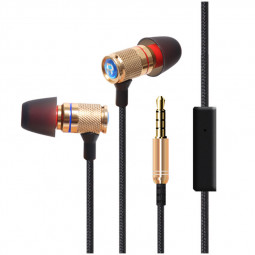 KDK-302 Metal In-Ear Earphone with Mic Stereo Noise Cancelling Earbuds Wired Headphone - Gold