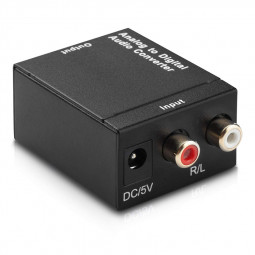 Analog to Digital Optical Audio Converter Adapter with Power Adaptor