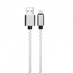 1M Braided Mosaic 8pin Cable iPhone Fast Charging Cord Data Wire - Grey