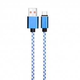 1M Nylon Braided Type C Charging Cord Durable Fast-Charge Data Sync Cable - Blue