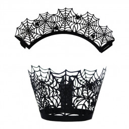 12Pcs/Lot Spiderweb Cupcake Wrappers Laser Cut Bake Cake Paper Cups Trays for Halloween Party Decor - Pattern 1