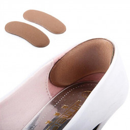1 Pair Spongy Shoe Heel Inserts Strong Sticky Insoles Pads Cushion Grips - Brown