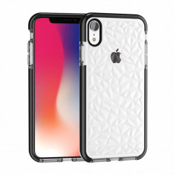 Diamond Pattern Stylish Soft TPU Case Rubber Shockproof Back Cover Shell for iPhone XR - Black