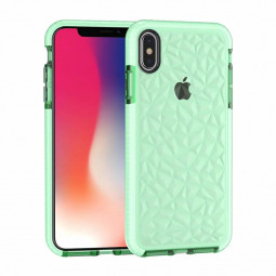Diamond Prism Slim Soft Flexible TPU Silicone Bumper Back Case Cover for iPhone X/XS - Green