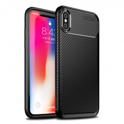 Carbon Fibre Soft TPU Silicone Slim Case Back Cover for iPhone X/XS - Black