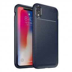 Carbon Fiber Texture Slim Soft Flexible TPU Rubber Shockproof Case Back Cover for iPhone XR - Blue