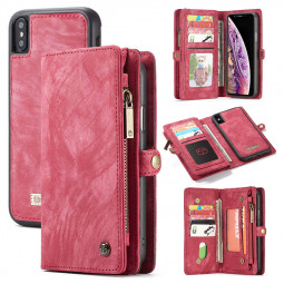 Super Large Capacity Flip PU Leather Wallet Case Cover with Zipper for iPhone XS Max - Red