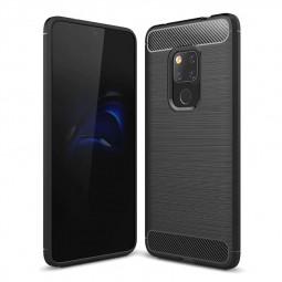 Shockproof TPU Carbon Fiber Tough Brushed Case Back Cover for Huawei Mate 20 - Black