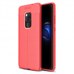 Litchi Texture Pattern Soft Silicone TPU Shockproof Case Back Cover for Huawei Mate 20 - Red