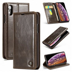 Slim Retro Magnetic PU Leather Wallet Flip Stand Case Cover with Card Slots for iPhone XR - Brown