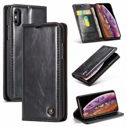Vintage Retro Magnetic Flip Stand PU Leather Wallet Case Cover for iPhone XS Max - Black