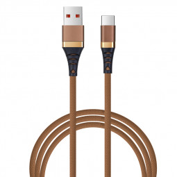 Durable 1M Nylon Braided Type C Charging Data Cable Cord - Brown