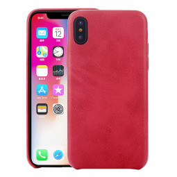 Ultra-Thin Retro PU Leather Soft Bump Shockproof Case Back Cover for iPhone XR - Red