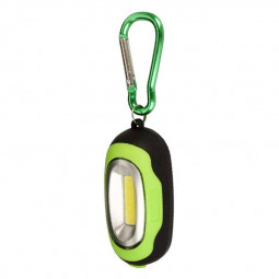 Portable COB Lamp LED Light Flashlight with Key Chain for Camping Hiking - Green