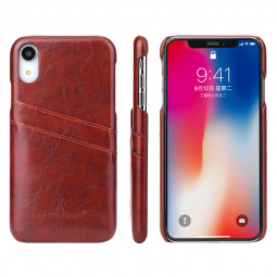Vintage PU Leather Card Slot Holder Back Cover Case for iPhone XR - Brown
