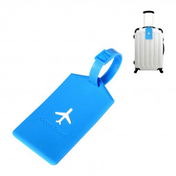 Square PVC Luggage Tag Name Address ID Card Tag Travel - Blue
