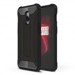 OnePlus 6T/7 Rugged Armor TPU + PC Combination Cellphone Case Bumper Cover-Black