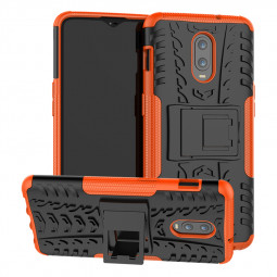 OnePlus 6T Heavy Duty Shockproof Cover Case with Kickstand Holder - Orange