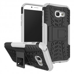 Heavy Duty Anti-ski Tough Phone Cover Case with Kickstand for Samsung Galaxy A5 2017 - White