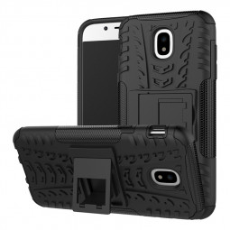 Heavy Duty Hybrid Cellphone Case with Kidstand for Samsung Galaxy J5 2017 - Black