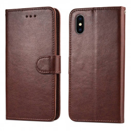 Solid Color Flip Stand PU Phone Wallet Case Cellphone Cover for iPhone XS MAX - Brown
